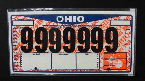 ohio temp tag Temporary Tag License Plate Cover